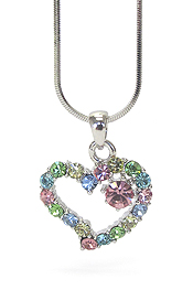 WHITEGOLD PLATING MULTI COLOR CRYSTAL HEART PENDANT NECKLACE