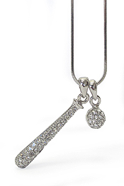 WHITEGOLD PLATING CRYSTAL MINIATURE BASEBALL BAT AND BALL PENDANT NECKLACE