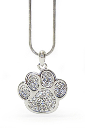 WHITEGOLD PLATING CRYSTAL STUD PAW PENDANT NECKLACE