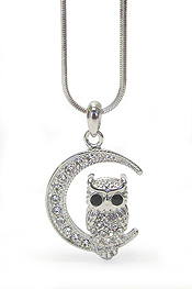 WHITEGOLD PLATING CRYSTAL EYE OWL AND MOON PENDANT NECKLACE