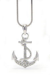 WHITEGOLD PLATING CRYSTAL ANCHOR PENDANT NECKLACE