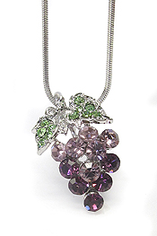 WHITEGOLD PLATING CRYSTAL GRAPE NECKLACE