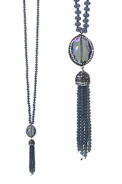 FACET GLASS AND BEAD TASSEL DROP LONG NECKLACE