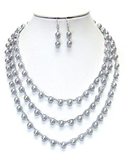 72 INCH EXTRA LONG PEARL BEADS NECKLACE SET