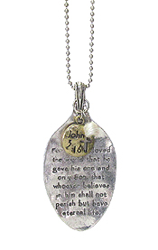 RELIGIOUS INSPIRATION MESSAGE ON SPOON HEAD LONG NECKLACE - JOHN 3:16