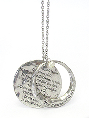 RELIGIOUS INSPIRATION MESSAGE DOUBLE PENDANT LONG NECKLACE - 10 COMMANDMENTS