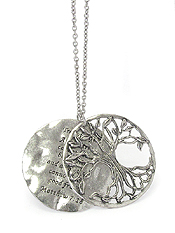 RELIGIOUS INSPIRATION MESSAGE DOUBLE PENDANT LONG NECKLACE - TREE OF LIFE