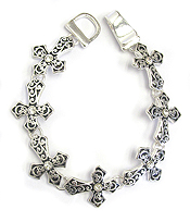 CRYSATL CENTER TEXTURED CROSS LINK MAGNETIC BRACELET