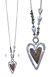 DOUBLE HEART PENDANT LONG NECKLACE SET
