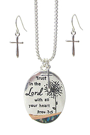 RELIGIOUS INSPIRATION PENDANT NECKLACE SET - LORD PRAYER
