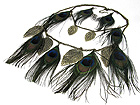 MULTI PEACOCK FEATHER DOUBLE LAYERED NECKLACE EARRING SET