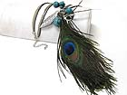 PEACOCK FEATHER AND MIXED CHARM DANGLE LONG NECKLACE EARRING SET