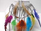 MULTI GENUINE NATURAL FEATHER AND MULTI SPIKE CHARM DANGLE AND LONG TASSEL DROP  NECKLACE EARRING SET