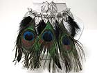 MULTI GENUINE NATURAL PEACOCK FEATHER DANGLE NECKLACE EARRING SET