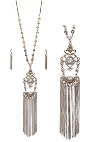 METAL FILIGREE AND TASSEL DROP BOHEMIAN STYLE LONG NECKLACE SET