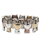 MULTI OWL STRETCH BRACELET