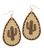 LEATHER TEXTURED CACTUS TEARDROP EARRING