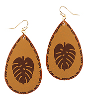 LEATHER TEXTURED LEAF TEARDROP EARRING