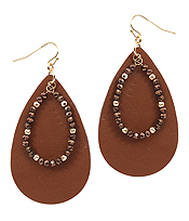 GLASS BEAD AND LEATHER TEXTURED TEARDROP EARRING