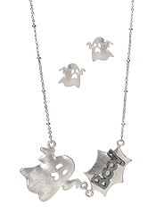 HALLOWEEN THEME PENDANT NECKLACE SET - GHOST