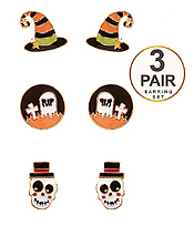 HALLOWEEN THEME 3 PAIR EARRING SET - WITCH HAT AND RIP
