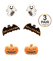 HALLOWEEN THEME 3 PAIR EARRING SET - PUMPKIN CHOST AND BAT