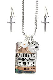 RELIGIOUS INSPIRATION PENDANT NECKLACE SET - MATT 17:20