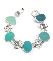 MIXED SEA GLASS MAGNETIC BRACELET - TURTLE