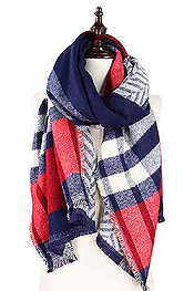 PLAID AND CHEVRON PATTERN DOUBLE SIDE OVER SIZE SCARF - 100% ACRYLIC