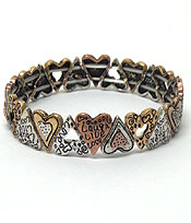 TEXTURED METAL HEART SHAPES BRACELET