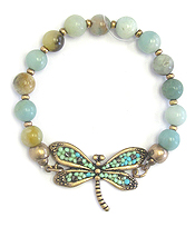 VINTAGE BEAD DRAGONFLY STRETCH BRACELET