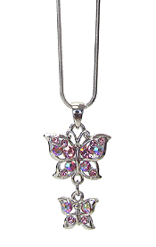 WHITEGOLD PLATING CRYSTAL DOUBLE BUTTERFLY PENDANT NECKLACE