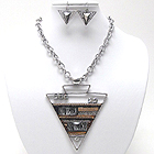 CRYSTAL METAL AND ACRYL MODEEN ACHITECTURAL TRIANGLE MEDALLION NECKLACE EARRING SET