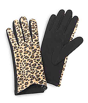 LEOPARD GLOVES - 100% POLYESTER