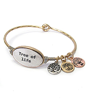 RELIGIOUS INSPIRATION WIRE BANGLE BRACELET - TREE OF LIFE