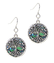 METAL FILIGREE AND ABALONE EARRING - TREE OF LIFE