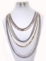 MULTI STYLES METAL LAYER NECKLACE SET