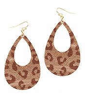 LEATHER TEXTURED ANIMAL PRINT TEARDROP EARRING