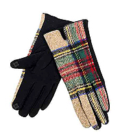 PLAID PATTERN SMART TOUCH GLOVES - 100% ACRYLIC
