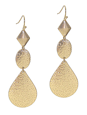 TEXTURED DISC AND TEARDROP EARRING