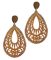 LASER CUT NATURAL WOOD FILIGREE EARRING - TEARDROP