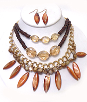 3 LAYER SHELL ARROWHEAD AND MULTI BEADS CHAIN NECKLACE SET