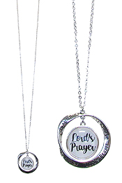 RELIGIOUS INSPIRATION CABOCHON AND TWIST RING PENDANT LONG NECKLACE - LORD'S PRAYER