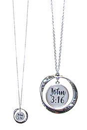 RELIGIOUS INSPIRATION CABOCHON AND TWIST RING PENDANT LONG NECKLACE - JOHN 3:16