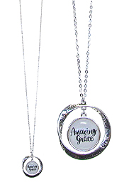 RELIGIOUS INSPIRATION CABOCHON AND TWIST RING PENDANT LONG NECKLACE - AMAZING GRACE