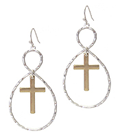 CROSS AND TEARDROP EARRING