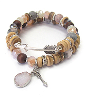 MULTI GENUINE STONE MIX DOUBLE STRETCH BRACELET SET - ARROW