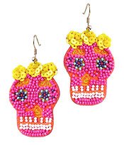 HANDMADE MULTI SEEDBEAD EARRING - SUGAR SKULL