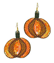 HANDMADE MULTI SEEDBEAD AND SEQUIN EARRING - HALLOWEEN PUMPKIN
