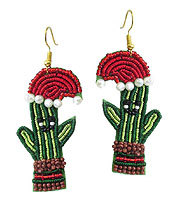 HANDMADE MULTI SEEDBEAD AND EMBROIDER EARRING - CACTUS AND SANTA HAT
